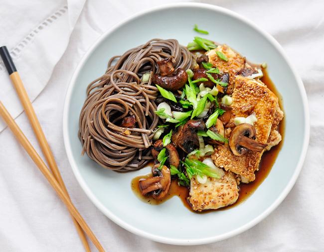 Crispy Sesame Tofu and Mushroom Stir-fry
